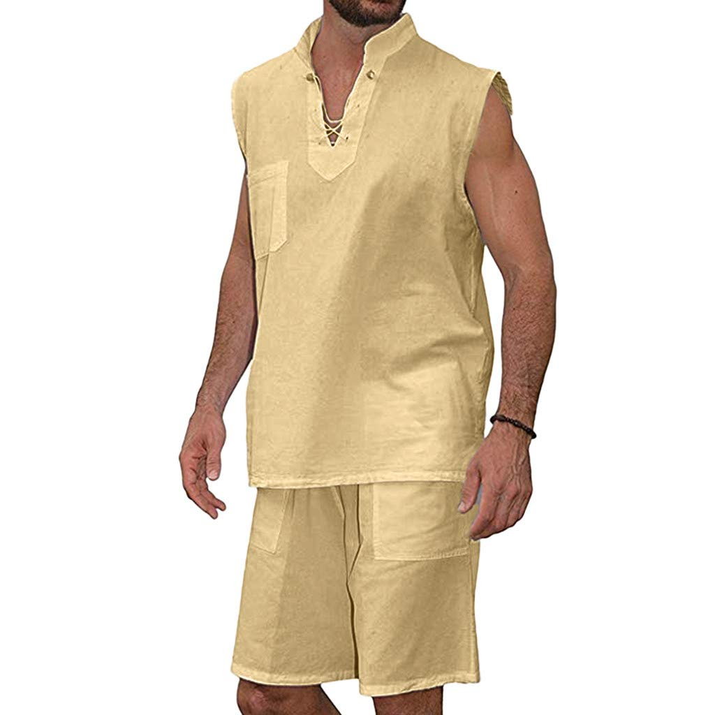 Kawaiine Men's Hippie Large Size Loose V Neck Sleeveless Beach Shirt Shorts Suit Khaki
