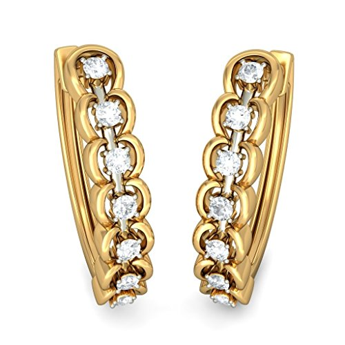 14 K Or jaune 0,45 CT TW White-diamond (IJ | SI) Boucles d'oreilles créoles