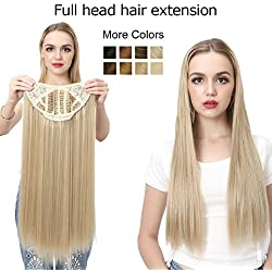 "SARLA 24"" 160g Long Straight & Natural Wave Full Head U-part Hair Extension Clip in Hairpieces Heat-resistant Fiber UH16 & UH17 (24'' Straight, 27 Gloden Brown)"