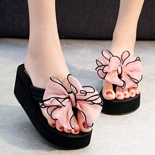Señoras clip resbaladizo de zapatillas playa a anti aire chanclas alto tacón pie moda de FLYRCX de de al libre zapatos verano dx87CTwt