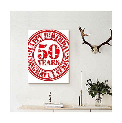Liguo88 Custom canvas 50th Birthday Decorations Grungy Displ