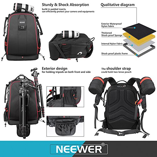 514qu56NM L - Neewer Pro Camera Case Waterproof Shockproof Adjustable Padded Camera Backpack Bag with Anti-theft Combination Lock for DSLR,DJI Phantom 1 2 3 Professional Drone Tripods Flash Lens and Other Accessory