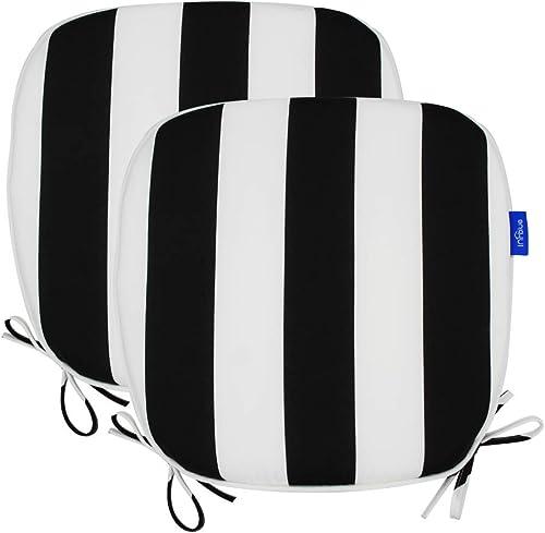 Outdoor Chair Pads Seat Cushions U Shape Home Chair Cushion for Garden Patio, Set of 2 17 X 16 , Black Stripe