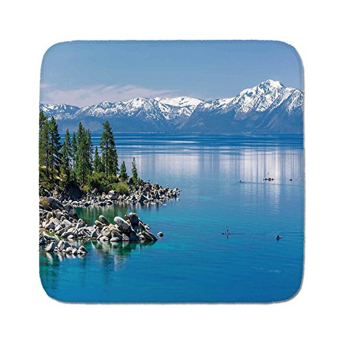Pads Cushion Area Rug,Landscape,Blue Waters of Lake Tahoe Snowy Mountains Pine Trees Rocks Relax Shore,Light Blue Green Grey,Easy to Use on Any Surface ()