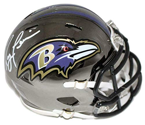 (Autographed Ray Lewis Mini Helmet - Chrome BAS 22758 - Beckett Authentication - Autographed NFL Mini Helmets)