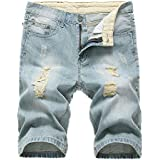e29e8adfc1e5 IA ROD CA Men s Light Blue Ripped Destroyed Distressed Slim Fit Jeans  Cotton Denim Shorts W36