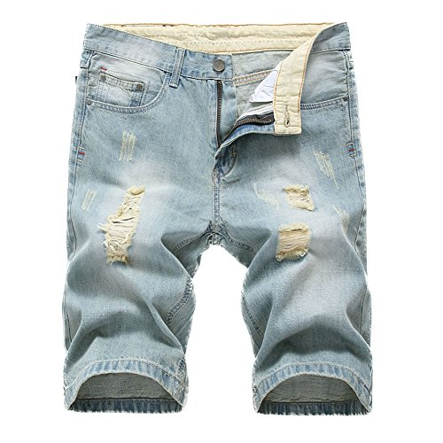IA ROD CA Men's Light Blue Ripped Destroyed Distressed Slim Fit Jeans Cotton Denim Shorts W36 - Cotton Denim Jeans Shorts