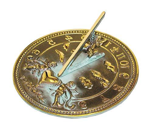 (Rоmе Premium Cherub Sundial, Solid Brass with Verdigris Highlights, 10-Inch Diameter)