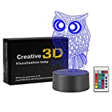 Night Light 3D Lamp Optical Illusion Kids Night Light Animals 7 Colors Change LED Touch Table Desk Lamps with Remote (Owl)