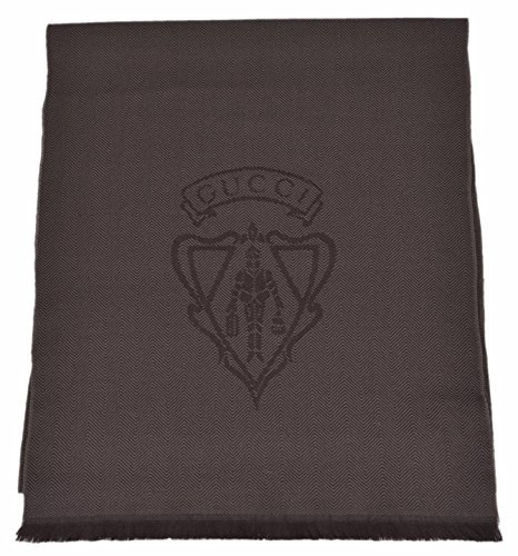 Gucci Men's 344993 Wool Hysteria Crest Logo Scarf Muffler (Dark Loden Brown) (Scarf Logo Wool)