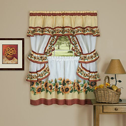 "Achim Home Furnishings 57"" x 36"", Black Eyed Susan Window Curtain Cottage Set, 57 inch x 36 inch, Spice, 57 x 36,"