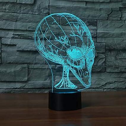 7 colores Alien Head 3D Illusion Lámpara única Acrílico Luz de ...