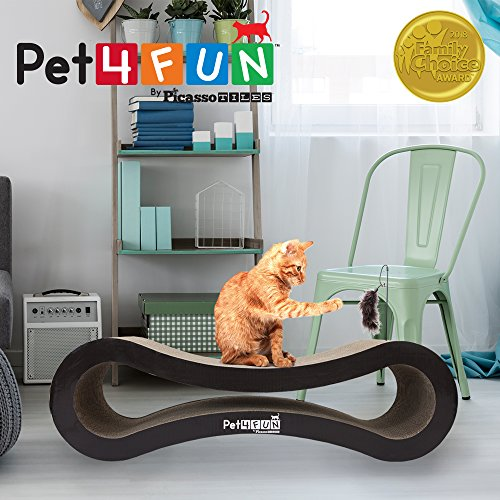 Pet4Fun® PF360 4 in1 Reversible Durable Stylish Cat Scratcher Lounge w/ large space and special teaser holder for scratching, playing, resting, and napping. Teaser, Comb, & Catnip Included by Picasso Tiles by PicassoTiles (Image #1)