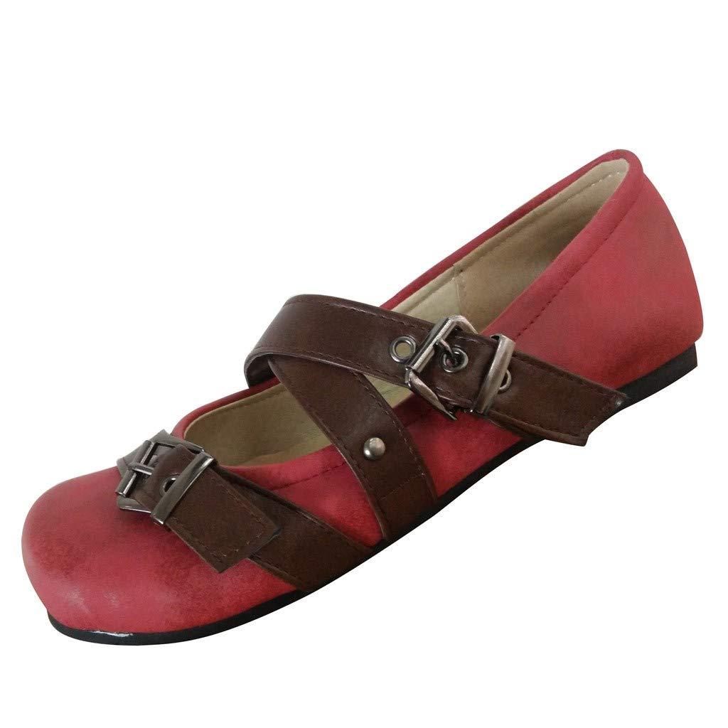 Shusuen Women's Casual Suede Mary Jane Slip-on Flat Dance Shoes Red by Shusuen_shoes