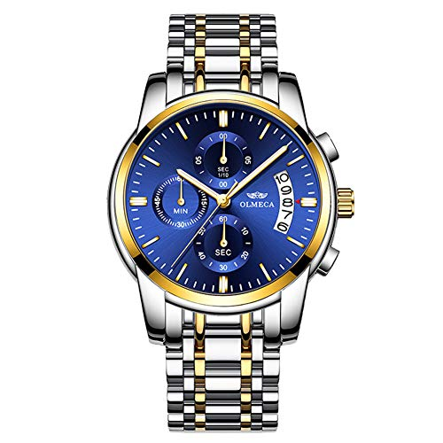 Mens Watch Wrist Gift - Gold Plating Men's Analog Quartz Mutifunctional Watches for Man Stainless Steel Strap Blue Face Wristwatch Father's Day Gift