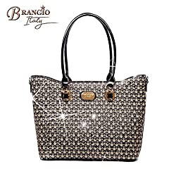 Top Handle Matte Pebble Leather Triple Crystal Bag