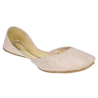 Kinder Mädchen Jamawar Stoff Slip auf Traditionelle Indische Casual Handgefertigte Leder Flache Khussa Pumps Gold Schuhe Größe 32 AARZ LONDON DDsV7IWhE