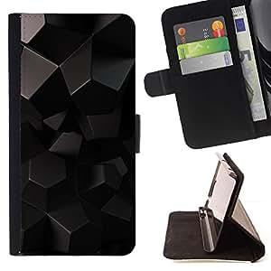 Momo Phone Case / Flip Funda de Cuero Case Cover - Polígono patrón de Arte Negro Extranjero 3D de ciencia ficción - Samsung Galaxy S6 Edge Plus / S6 Edge+ G928