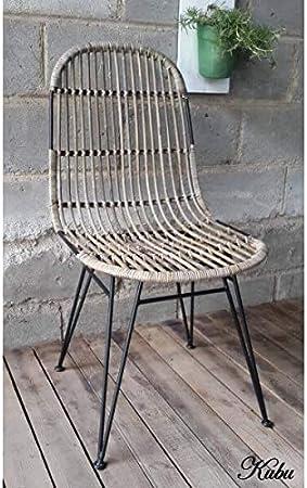 KUBU Chaise Design rotin Naturel: : Cuisine & Maison