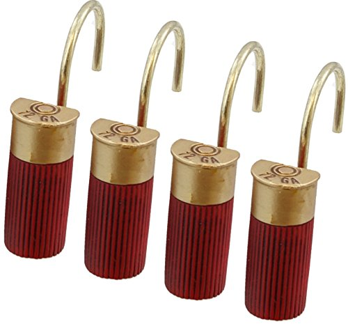 Shower Shell - Red Shotgun Shell Shower Curtain Hooks / Rings - 12 Pc Set