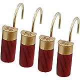 Red Shotgun Shell Shower Curtain Hooks / Rings   12 Pc Set