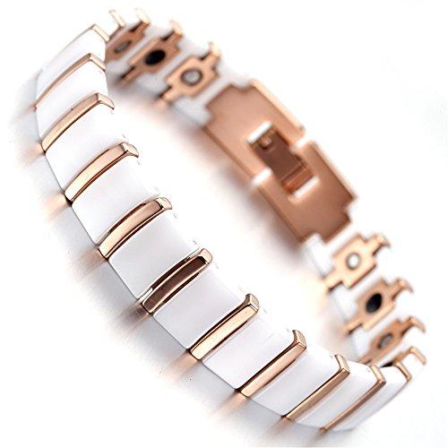 Rose Gold Tungsten Ceramic Magnetic Therapy Bracelet for Arthritis Pain Men Women