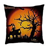 Happy Halloween Linen Pillow Case Cover Decorative Throw Pillow Cover Cushion Case with Cat/Moon/Tree/Pumpkin for Halloween Party Favors Supplies