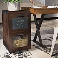 Vintage Mobile File Cabinet - Industrial Style, With Casters, Walnut Finish, 2 Storage Drawers and Chalkboard Inlay, Contemporary Office Filling Organizer