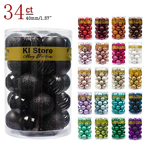 Sophisticated Halloween Decorations (KI Store 34ct Christmas Ball Ornaments 1.57-Inch Small Black Shatterproof Christmas Tree Balls Decorations for Xmas Halloween Decoration Tree Ornaments Hooks Included)