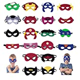 Superhero Masks, Superhero Party Supplies by SharpHero (Set of 20) Superheroes Party Favors Toy for All Children Aged 3 plus, Cosplay Character Felt Mask with Elastic Band for Boys and Girls, Kids, Birthday Parties
