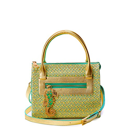 Eric Javits Luxury Fashion Designer Women's Handbag - Rio - Patina/Gold by Eric Javits