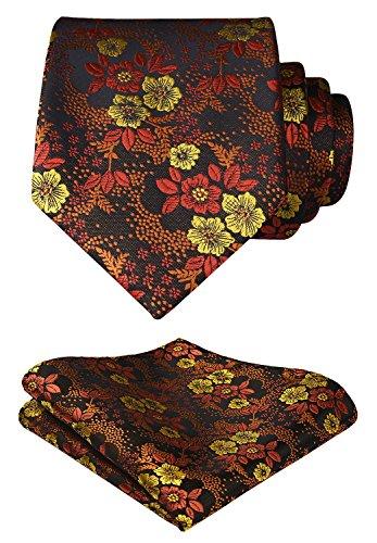 Floral Handmade Woven Tie - HISDERN Men's Floral Tie Handkerchief Jacquard Woven Flower Necktie and Pocket Square Set Orange