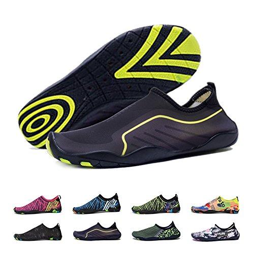 BlanKey Water Sports Shoes Quick-Dry Barefoot Flexible Flats Beach Swim Shoes for Men Women Kids black1 47