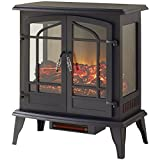 Legacy 1,000 sq. ft. 25 in. Freestanding Panoramic Compact Portable Black Infrared Electric Stove & Fireplace Heater with Remote, Vintage Design