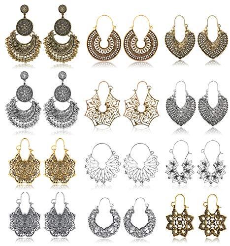 Subiceto 12 Pairs Vintage Mandala Flower Gypsy Drop Dangle Statement Earrings for Women Boho Retro Tribal Hollow Earrings Jewelry Set