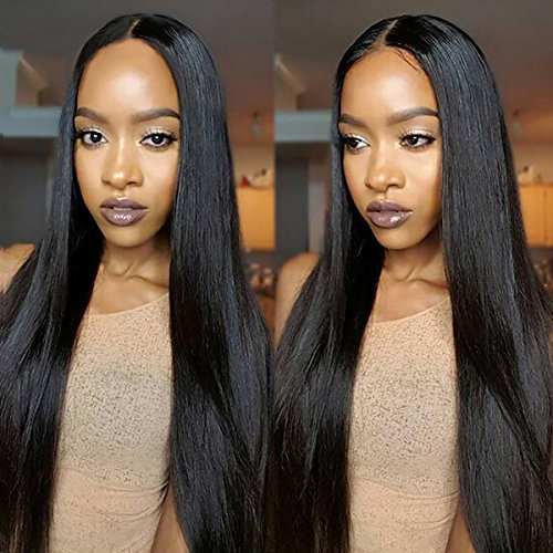 Yaweida Hair 7A Peruvian Virgin Straight Hair Weave 4 Bundles 100% Unprocessed Human Hair Extensions Natural Color Can Be Dyed(18 20 22 24 Inch)