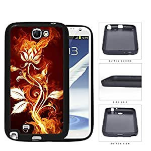 Flower Burning With Fire Flames And Smoke Rubber Silicone TPU Cell Phone Case Samsung Galaxy Note 2 II N7100