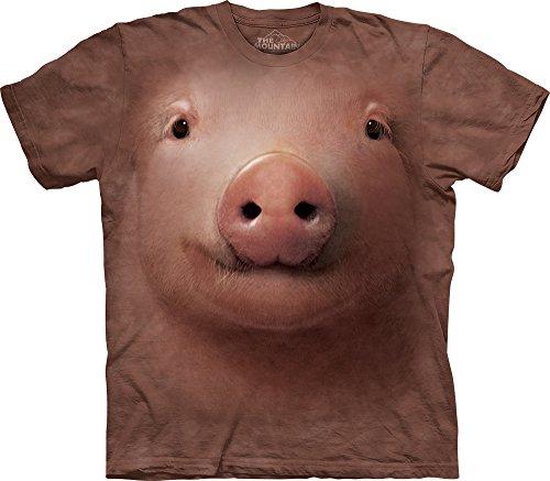 Men's Pig Face T-Shirt, Pink, Small