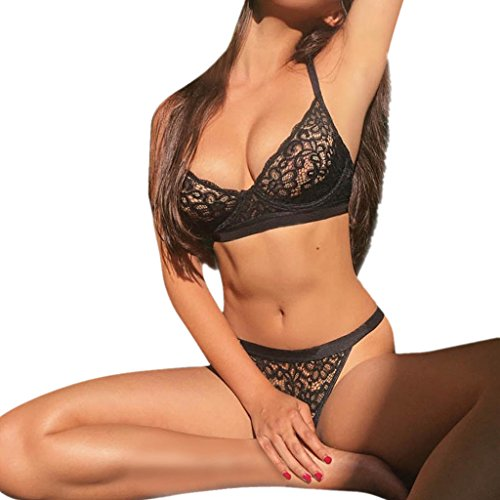 ILUCI Sexy Lingerie for Women Sex Women's Lace Floral Babydoll 2 Piece Bra+Panty Babydoll Nightwear Clearance (M, (Two Piece Bra)