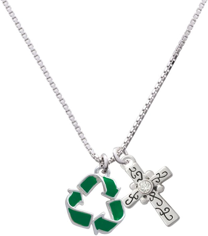 18+2 Delight Jewelry Green Enamel Recycle Symbol Scroll Cross Necklace