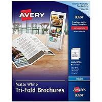 Papel imprimible para folletos AveryTri-Fold, impresoras de inyección de tinta, 100 folletos y sellos de correo, 8.5 x 11 (8324)