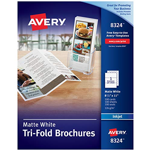 AveryTri-Fold Printable Brochure Paper, Inkjet Printers, 100 Brochures and Mailing Seals, 8.5 x 11 (8324) (Fold Tri Templates)