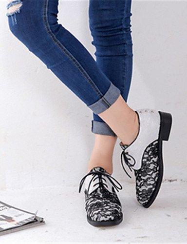 us5 Eu36 White Noir Talon Similicuir Cn35 Chaussures Blanc Uk3 Décontracté Femme 5 Richelieu Arrondi Njx Compensé Bout 5 6x17wPq
