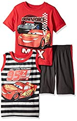 Disney Little Boys' 3 Piece Cars Muscle Tank, T-Shirt and Short Set, Red, 4