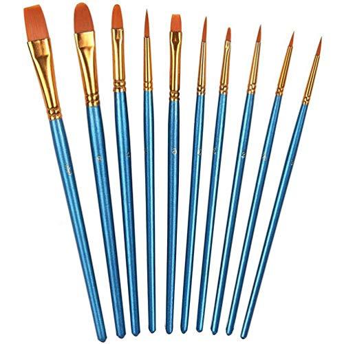 10PCS Best Professional Detail Paint Brush, Round Pointed Tip Nylon Hair Artist Detail Paintbrushes, Acrylic UV Gel…