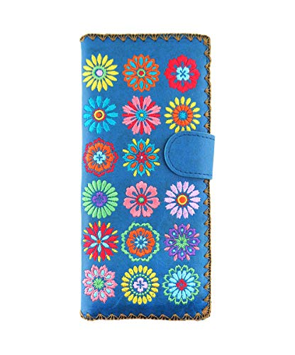 LAVISHY Embroidered Bohemian Flora Vegan/Faux Leather Large Flat Wallet (Blue)