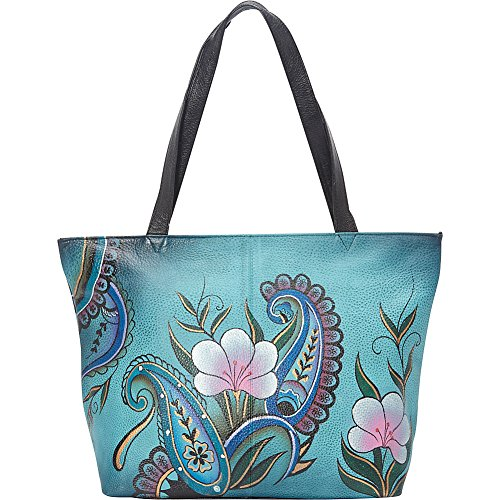Anuschka Anna by Handpainted Leather Large Tote, Denim Paisley Floral