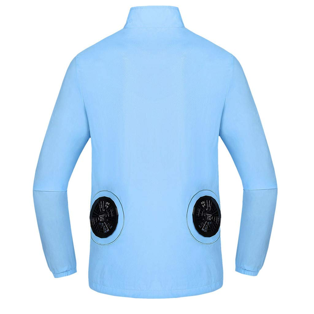 Tomppy Workwear Cooling Jacket with Fan Battery for Men Women Summer UV Protection Outdoors Air-Conditioned Clothes Light Blue
