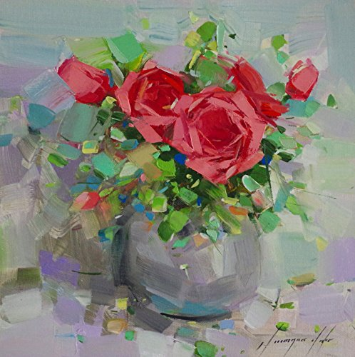 Vase of Roses, Original oil Painting, Handmade artwork, One of a kind
