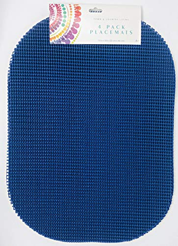 T & C Colorful Waffle Mesh | Set Of 4 | Place Mats | 18 inches x 13 inches | Easy Clean (Royal Blue)